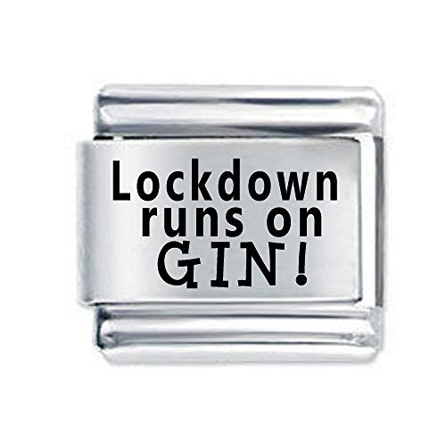 Lockdown Runs ON Gin Etched Italian Charm - fits all 9mm Italian Style Charm Bracelets Charms and Bracelets