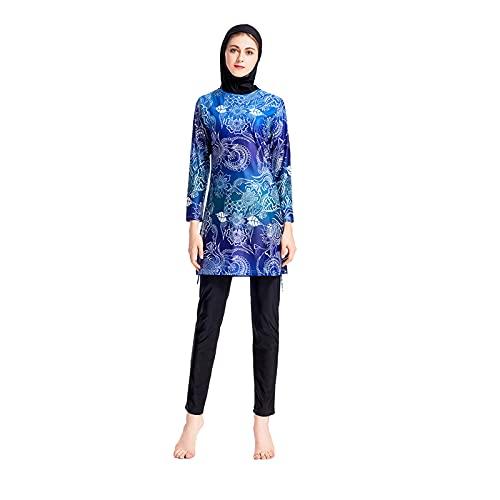 Traje de Baño Musulmán para Mujer, Cobertura Completa, Modesta, Musulmana,Nuevo Muslim Swimwear Traje de Baño Musulmán Traje Islámico de Mujer de Manga Corta Modesto Swimsuit Ropa de Playa Burkini