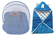 Set of 2- A Baby Bedding set with Folding Mosquito Net with Pillow and Baby Wrapper, Compact and folding size 81x46x5 cms and Zipper blanket 16x 28 cm Age group of 0-3 months High Quality Soft Shearing Velvet material Disclaimer: Cartoon Character pa...