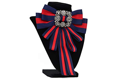 Christmas Ribbon brooch for women men bowknot costume brooches women jewelry beads accessories womens bow tie bow brooch (dk blue)