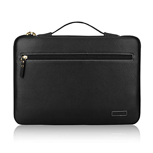 Fyy 12-13.5 inch Leather Laptop Sleeve Case Cover Bag for MacBook Pro/MacBook Air/iPad Pro 12.9 2018 2017 2016, Laptop Bag for 13' 13.3' Surface Lenovo Dell Toshiba HP ASUS Acer Chromebook Black