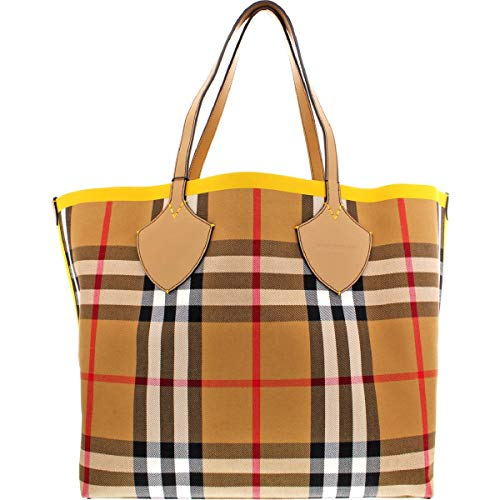 Burberry Womens Giant Canvas Oversized Tote Handbag Yellow Extra Large