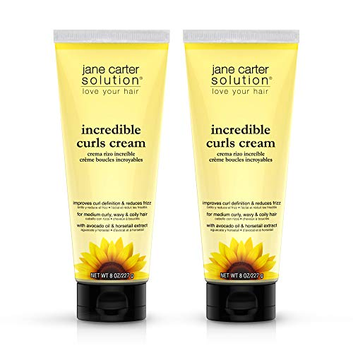 JANE CARTER SOLUTION Incredible Curls Cream (8oz) - Reduce Frizz, Creamy Formula, Detangler (Incredible Curls Cream (Pack of 2))