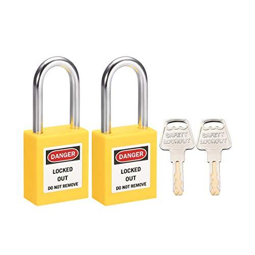 sourcing map Cerraduras de bloqueo y etiquetado de 1-1/2 pulgadas Grillete de misma llave Candado de seguridad amarillo 2 uds