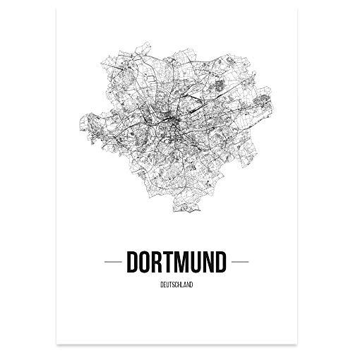JUNIWORDS Stadtposter, Dortmund, Wähle eine Größe, 21 x 30 cm, Poster, Schrift B, Weiß