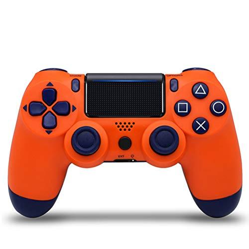 HERAHQ Controlador PS4 Mando inalámbrico, Antideslizante Bluetooth Gamepad Gamepads con función de vibración y Mini luz LED, para Playstation 4 / Notebook/PC,Sunset Orange