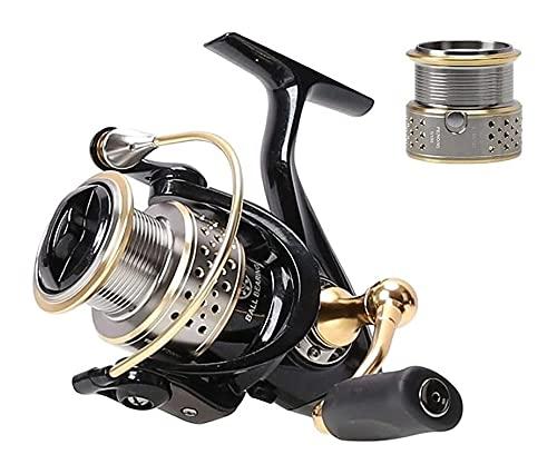 LQJin Carretes de Pesca 2000 8 + 1BB 5.2: 1 Dos carretes Carrete de Pesca de Spinning de Agua Dulce con Carrete de Repuesto