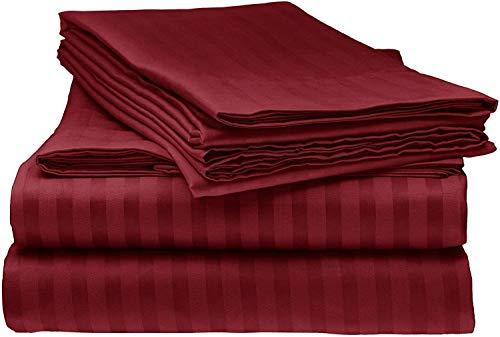 Tula Linen 1000 Hilos 100% algodón Egipcio Rayas Juego de Fundas de edredón y de Almohada de 260 x 240 cm + 2 Funda 50 x 90 cm Primera Calidad Color Borgoña
