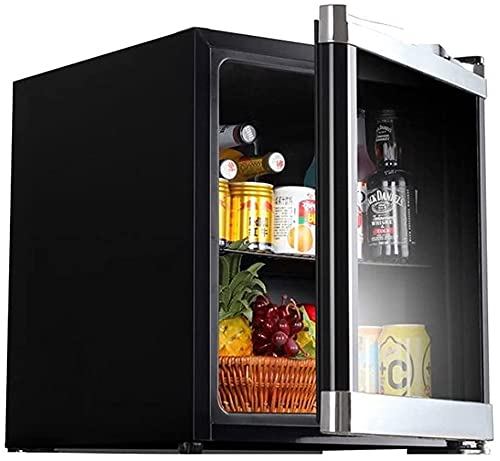FREEZYMAN Beverage Ice Bar, Desktop Household Small Refrigerator, Small Refrigerated Wine Cabinet with Glass Door, 42L Independent Wine Cellar (Color : Black, Size : 434651cm)