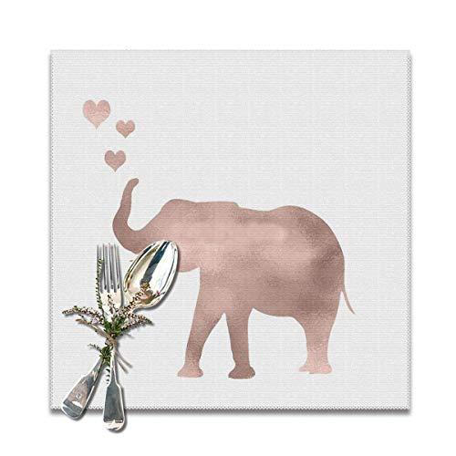 Elephant Love - Juego de 6 manteles individuales de papel de aluminio de color oro rosa, lavable, antideslizante, cuadrados, 30,5 x 30,5 cm, para cocina, comedor, decoración del hogar