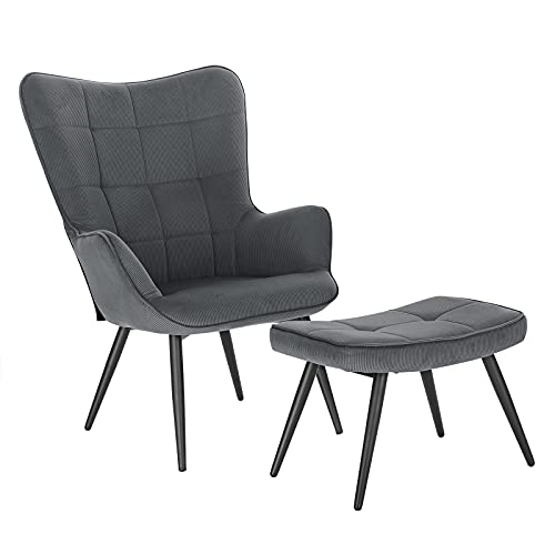 WOLTU Relaxsessel Lehnstühle Vintager Retro Sessel Polstersessel mit Hocker...