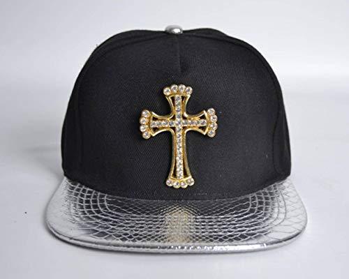 Gorra de Béisbol Cruzada Gorra de Piel de Cocodrilo Unisex Sombrero de Hip-Hop de Metal con Tachas de Diamantes, Ibuprofen, Plata, Circunferencia del casquillo: 55-61cm (Ropa)