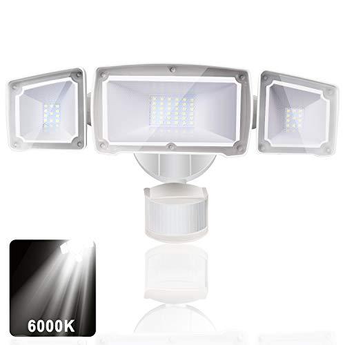 LEDMO Faretto LED da Esterno 39W Luci di sicurezza IP44 impermeabile 6000K bianco freddo 3000lm con sensore di movimento
