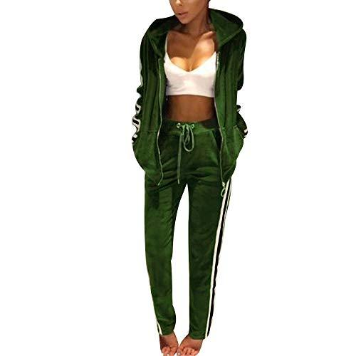 Frauen Damen Mode Trainingsanzug Streifen Zweiteilige Jogginganzug Lange Ärmel Zipper Top Lange Hose Grün Size S