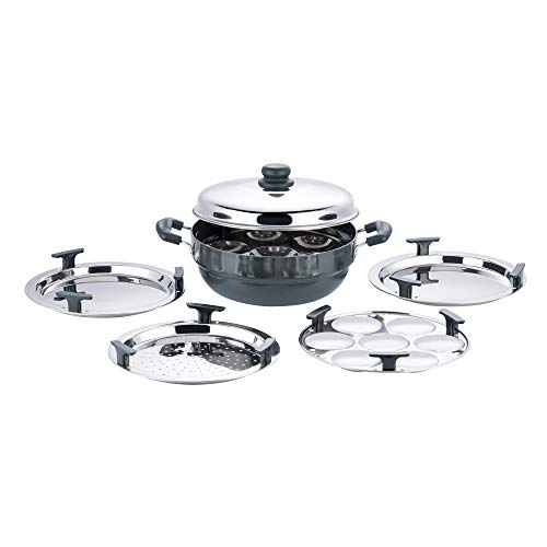 Vinod Hard Anodized 6 pcs Multi Kadai (Induction Friendly) with stainless steel lid, 2 idli plates, 2 dhokla plates and 1 patra plate