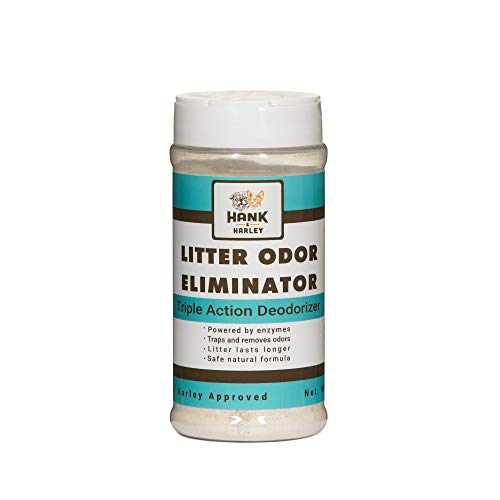 CAT LITTER ODOR ELIMINATOR. Triple-Action Deodorizing powder with natural enzymes, ammonia remover and activated baking soda. Made in USA with no harsh chemicals or perfumes! 100% SAFE (1lb)