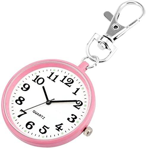 JZDH Bolsillo Reloj niños niñas Llavero Reloj Encantador Lindo Llavero joyería Bolso Llavero Titular Colgando Bolsillo Reloj Joven Gente de Moda Regalos (Color : Blue)