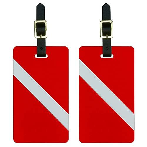 Graphics & More Flag-Scuba Diver Dive Bagagli Tag Valigia Porta Id, Bianco