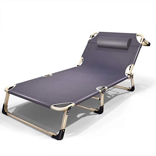 CHAIRQEW Übergroße Terrasse Liegestuhl Gartenstühle Schrägstuhl Verstellbares Klappbett Im Freien Garten Strand Deck Sonnenliege Unterstützt 200 kg (Color : Gray Without Cushions)