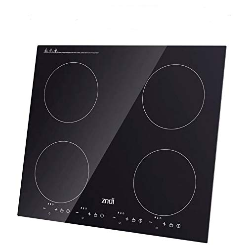 Read About Electric Induction Cooktop with 4 Booster Burners Smooth Top Surface Black Tempered Glass...