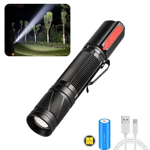 Linterna LED XHP50 superbrillante 30000 lúmenes, linterna de mano de alta potencia con zoom con 5 modos, atenuación continua, función de banco de energía