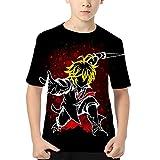 Boys The Seven Deadly Sins Shirt 3D Printing Tee Shirt Anime Meliodas Tshirts Casual Short Sleeve Manga Tops for Kids (H,130)