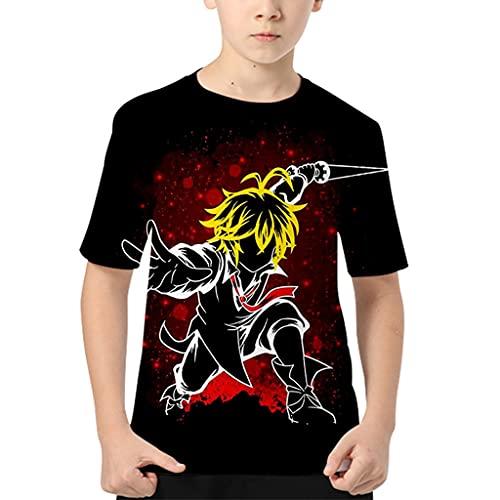 Camiseta para meninos The Seven Deadly Sins com estampa 3D Anime Meliodas Camisetas casuais de manga curta para crianças, H, 130