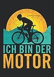 Notizbuch A4 kariert mit Softcover Design: Rennrad Geschenk Spruch Fahrrad Ich bin der Motor Radrennen: 120 karierte DIN A4 Seiten