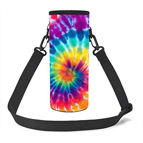 UOIMAG - Funda para botella de agua con diseño de arcoíris y espiral, de neopreno, aislada para deportes al aire libre, tamaño pequeño, 500 ml