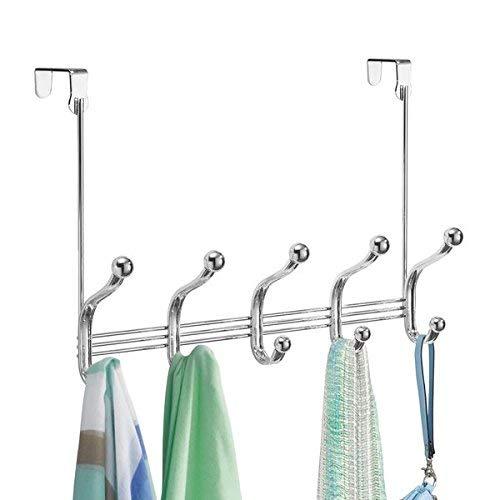 mDesign Perchero para puerta - 10 ganchos de acero inoxidable para la puerta, el pasillo o la habitación – Ideal accesorio para baño o para colgar abrigos y chaquetas – Color: cromado