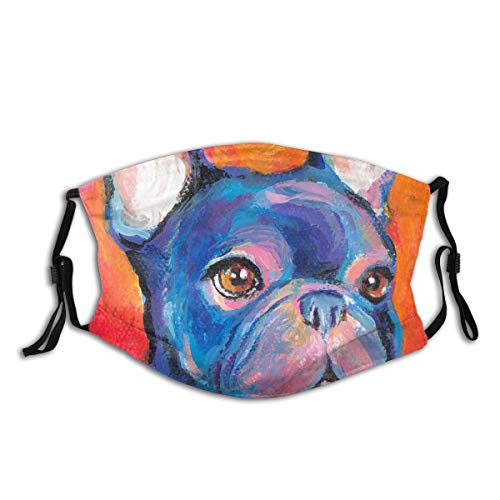 Cute French Bulldog Painting Prints Dog Print Cloth Face Mask Colorful for Men Women Anti-Pet Hair for Men Women Adult Outdoor Indoor Balaclava Face Mask Mouth Protection with 2 Filters
