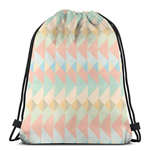 OPLKJ Unisex Kordelzugbeutel, farbige geometrische polygonale dreieckige klappbare Rucksack-Sporttasche Gürteltasche Aufbewahrungskästen für Sport-Sport-Sportbeutel für Frauen Multifunktionale Rucksa