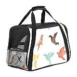 nakw88 Origami Birds - Bolsa de transporte para mascotas con malla transpirable y correa ajustable para el hombro, con gran espacio para gatos y perros pequeños