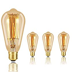 in budget affordable Eight old vintage style Edison bulbs, dimmable bulbs, amber, warm, 60 W, E26, wall base …