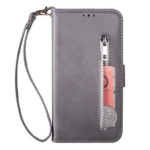 para iPhone 11, la funda para teléfono móvil es adecuada para iPhone 11 12 Pro Max XR XS MAX 6 6S 7 8 Plus X funda para teléfono con tapa, protección completa, caja con cremallera, gris, iPhone X