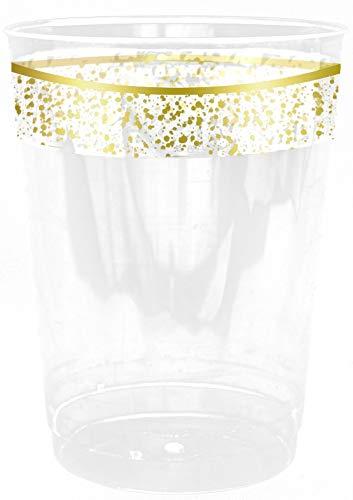 Decorline- bicchiere di plastica cristallo monouso 280ml -Stoviglie plastica Deluxe- per feste decorate-Party - usa e getta - Color bianco con bordo Oro - Plastica rigida - Utilizzare monouso-10 pezzi