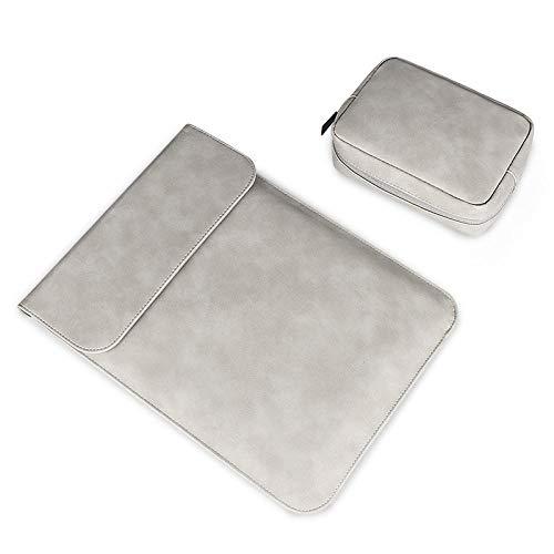 Funda para computadora portátil para MacBook Air Pro 13.3 14 15 Pulgadas Impermeable Soft PU Cuero portátil Portátil Portátil Cubierta de la Caja-Conjuntos de Grises_13 Pulgadas