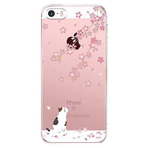 Alsoar Compatibile per Custodia iPhone SE 2016, Cover iPhone 5S /5 Silicone, Cover per iPhone 5s 5 SE Panda Case Silicone Trasparente Morbido Ultra Sottile Gel Protettiva Shock-Absorption (Gatto)
