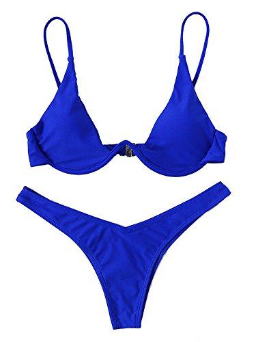 Verdusa Women's Sexy Triangle Bathing Two Pieces Swimsuit Bikini Set Blue L