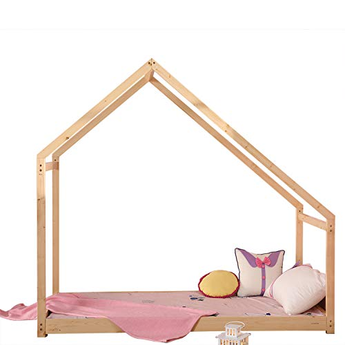 "Bestmart INC Children Toddler Bed House Bed Frame Premium Wood Floor Bed Kids Tent Bed Play Tent, Comfort & Safe, 78.7"" L x 41"" W x 72.8"" H"