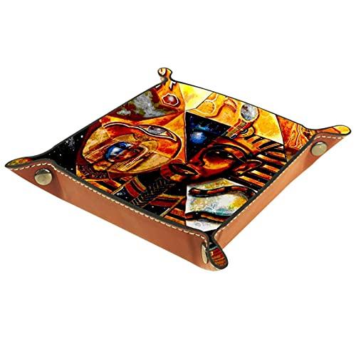 Bandeja de Valet, colección de Cuero de PU, Organizador de bandejas, Caja de Almacenamiento para Relojes, Monedas, Monedas, Billetera, pirámides abstractas egipcias