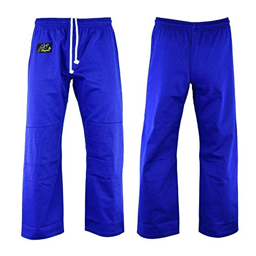 Playwell Martial Arts Karaté Pantalon Bleu Pantalon Entraînement Poly Coton - 9oz - Bleu, 3/160cm