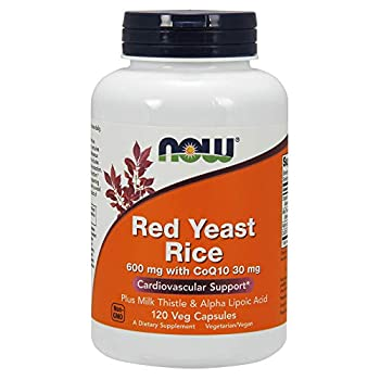 NOW Supplements Red Yeast Rice with CoQ10 plus Milk Thistle & Alpha Lipoic Acid 120 Veg Capsules