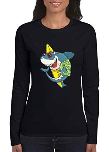 Druckerlebnis24 Camiseta de manga larga con diseño de tabla de surf y gafas de sol hawaiana para mujer y mujer Negro S