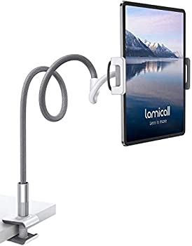 Gooseneck Tablet Holder Lamicall Tablet Stand  Flexible Arm Clip Tablet Mount Compatible with iPad Mini Pro Air Switch Galaxy Tabs More 4.7-10.5  Devices - Gray