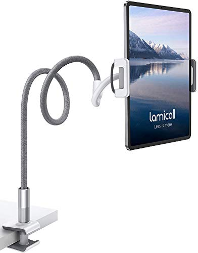 Gooseneck Tablet Holder, Lamicall Tablet Stand: Flexible Arm Clip Tablet Mount Compatible with iPad Mini Pro Air, Switch, Galaxy Tabs, More 4.7-10.5' Devices - Gray