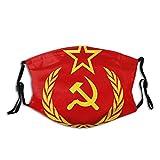 Wiederverwendbares Halbtuch Bandana,Ikone des Kommunismus der UdSSR mit Hammer und sowjetischer Sichel und Zweigen mit Blättern Rote Stern Union Flagge mit,Einstellbare Sport Outdoor Mundabdeckung