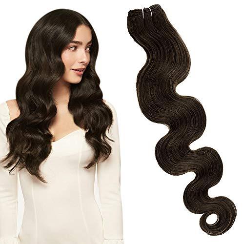 Tissage Remy Hair Marron,LaaVoo Remy Human Hair Weft Body Wave Marron Foncé #4 Remy Tissage de Extensions de Cheveux Vraies 24 Pouces Extension Cheveu