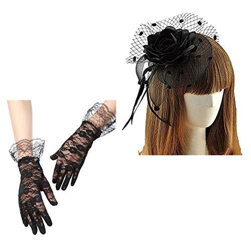 Keylleen Fascinator Hair Clip Veil Wedding Bridal Headwear for Women, Hair Clip + Lace Bridal Wedding Gloves