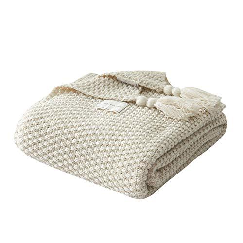 Deken Knit, fleecedeken van katoen, met breipatroon voor de stoel, bank E Bet (130 x 170 cm, grijs)